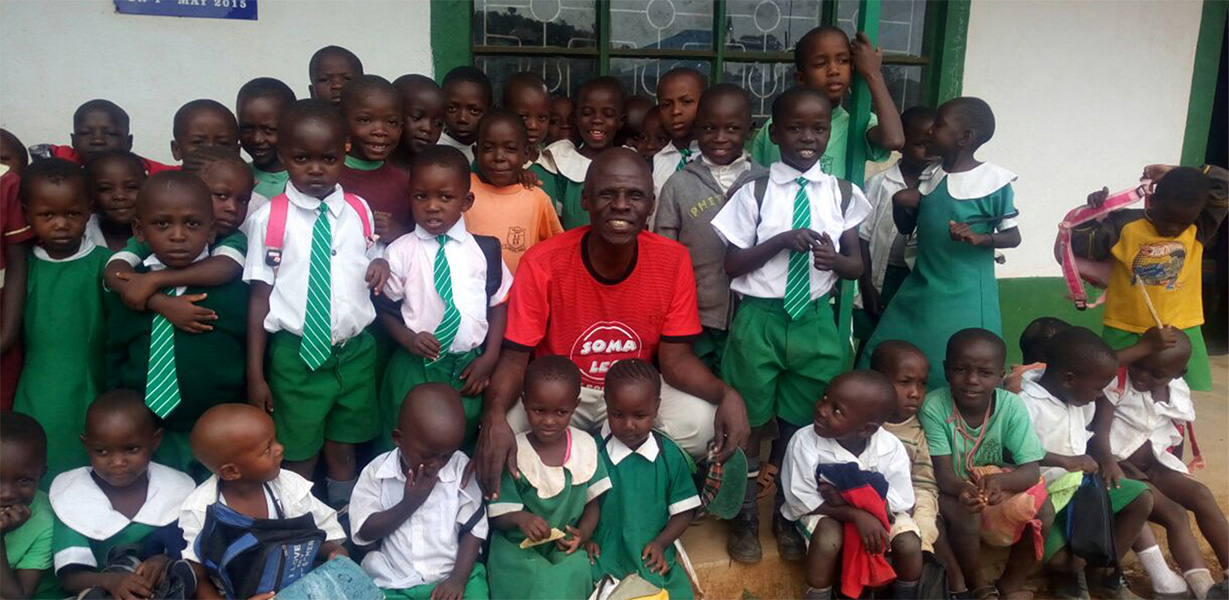 Group of school children with staff member. The Soma Leo Foundation